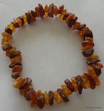 Stretch multicolor raw unpolished     Baltic Amber Bracelet  #5 raw