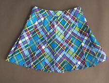 American Apparel Plaid Blue Pink Green Pleated Tennis Skirt Medium M Preppy