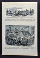 Leslie Civil War Map - Citizens of Baltimore Barricading Streets & Carlisle PA