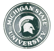 "MICHIGAN STATE UNIVERSITY 12"" ROUND METAL SIGN MICHIGAN STATE SPARTANS MAN CAVE"