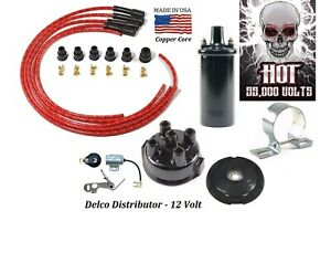 Delco Ignition Tune up kit for IH Farmall Tractors - 12V Hot Coil (Red)