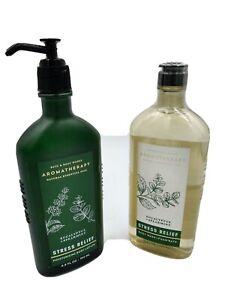 B&BW Aromatherapy STRESS RELIEF Eucalyptus/Spearmint Body Wash and Body Cream