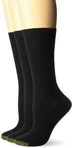 Gold Toe Women's 179666 Non-Binding Ribbed Crew Socks Black Size 6-9
