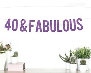 40 & FABULOUS Banner, PURPLE Glitter | Letter Garland, 40th FORTY Birthday Sign