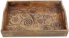 Wooden Tray with Handle Hand Carved Tree of Life Design Size 15x10