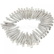 50 Single Prong Crocodile Alligator Clips W Teeth Hair Bow DIY Silver Metal 45mm