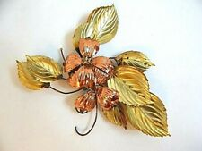 Vintage Mid Century Metal Copper Flowers Brass Leaves Art Wall Hanging Toleware