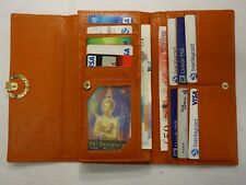 Leather Purse Wallet Organiser Extra Large Orange Colour with Many features