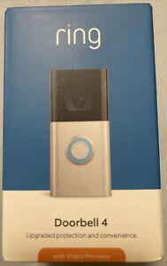 NEW Wi-Fi Enabled HD Ring Video Doorbell 4 Camera - Satin Nickel NIB Sealed NR
