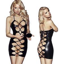 Sexy Exotic Black wet look PVC nightclub hen Cocktail party mini fancy dress S-L