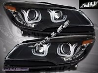 2013-2015  Ford Escape LED U Bar Style Black Projector Headlights Pair