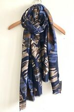 LADIES BLUE NAVY BEIGE ABSTRACT PRINT SCARF NEW COLLECTION