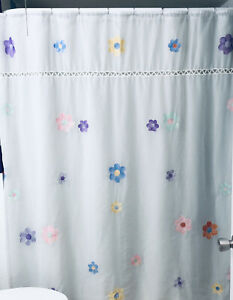 Vintage Pottery Barn White Sheer Flowers Aplique Shower Curtain
