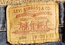 LEVI STRAUSS Original 558 LEVI'S JEANS Mens W29 L33 Button Fly -Exc. Pre-Owned