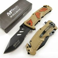 SPRING-ASSIST FOLDING POCKET KNIFE | Mtech Rescue Tactical Serrated Blade Tan