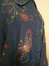 studio works embroidered butterfly jean jacket 2X