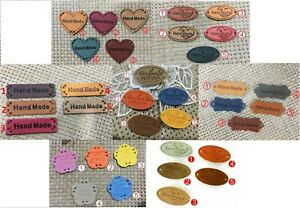 Faux Leather Labels HAND MADE WITH LOVE Sew On Clothing Tag Label Tags