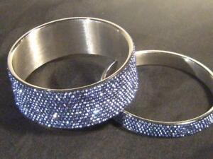 Chisel brand Rhinestone Bracelet Pair. One each size. Stainless steel. Ice blue!