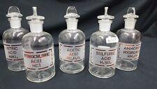 Ammonium Hydroxide Sulfuric Acetic Nitric & Hydrochloric Acid Bottles Set of 5