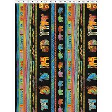Mythical Jungle Laurel Burch Clothworks fabric Y2135-3M Black Stripe