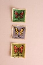 3 Polish, Polska Stamp Collection, Stamped, Off Paper Butterflies