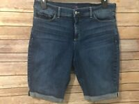 NYDJ Blue Jean Shorts Size 14 Rolled Cuff Stretch Not Your Daughters Jeans Denim