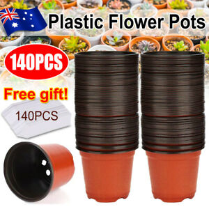 140PCS Garden Plastic Plant Flower Pots Nursery Seedlings Container +Tags Record