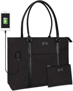 Laptop Tote Bag, Women Teacher Bag Large Work Bag Purse Fits 15.6 in Laptop (Bla