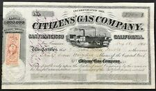 CITIZENS' GAS CO. Stock 1865 San Francisco, CA. ITASB J. Mora Moss $37,000 Issue