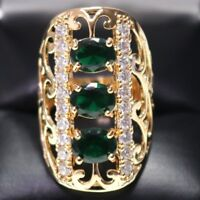 Hand Carved 5 Ct Green Emerald Oval Ring Engagement Wedding Size 8 18K R836