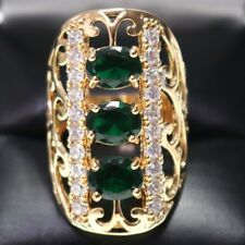 Hand Carved 5 Ct Green Emerald Oval Ring Engagement Wedding Rose Gold Plated