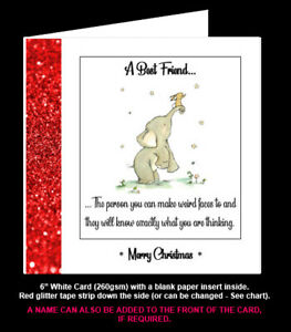 """''Best Friends Know What You Are Thinking"""", Funny Friend Birthday/Christmas Card"""