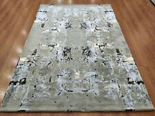 Indian Handmade Tufted Bespoke Custom Modern Soft Wool Art Silk Carpet Area Rug