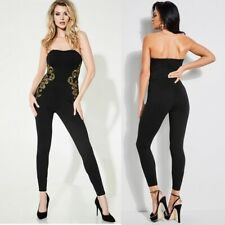 GUESS $128 Bianca Metallic Embroidered Strapless Jumpsuit Black Small NWT