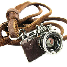 FT- Cool Rock Punk Camera Charm Pendant Faux Leather Necklace Birthday Gift Sple