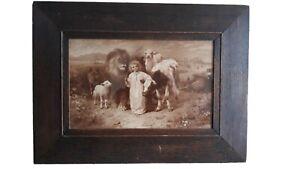 "Antique William Strutt Lithograph ""Peace"" Print c 1896Framed"