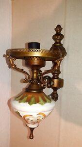 Antik Wandlampe Wandleuchte Messing Porzellan Bauhaus Stil Kadelaber