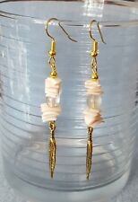 Handmade. Gold plated feather charm. Pink coral and tourmaline drop earrings.