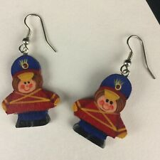 Hand Done Wooden Fish Hook Backs Vtg Christmas Earrings Toy Soldier Hand Painted