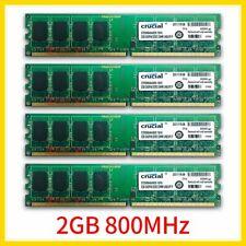8GB 4x 2GB PC2-6400U DDR2 800MHz 2Rx8 240Pin Desktop Memory RAM For Crucial 777