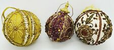 Vintage Satin Mesh & Glass Assorted Round Beaded Sequin Christmas Ornament lot 3