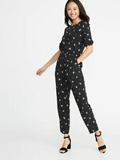 573a039e296ce Old Navy Women's Black Ditsy Floral Waist-Defined Cross-Back Jumpsuit Size  XXL