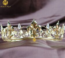 Imperial Medieval Wedding Tiara Gold Full Crown Rhinestone Bridal Party Costumes