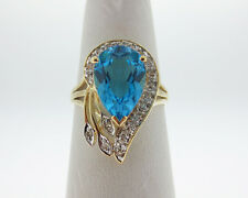 Large Pear Blue Topaz Diamonds Solid 14k Two-Tone Gold Ring FREE Sizing