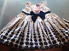 Kids Stuff- Girls White & Blue Spotted Dress. Size 1. New with tags.
