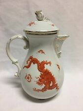 Meissen Ming Dragon Rust Red Gold Trim Large Coffee Tea Pot 10 3/4""
