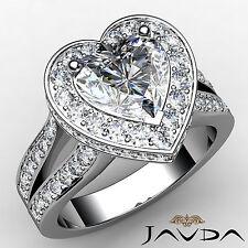 Heart Diamond Engagement EGL E Color SI1 14k White Gold Split Shank Ring 2.31 ct