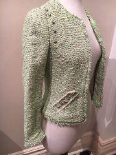 Brand New Sold Out ZARA Neon Green White Tweed Boucle Stud Jacket Blazer Size XS