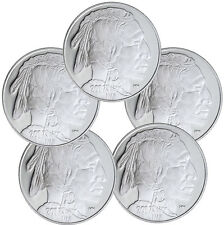 2017 Highland Mint 1 oz Silver American Indian Buffalo Round - Lot of 5 SKU45376