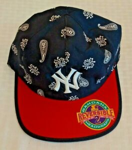 Vintage 1990s STARTER Yankees Baseball Hat Cap Reversible Bandana Headwraps New